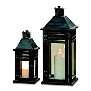Whole House Worlds Urban Zen Rustic 2 Piece Wood Lantern Set