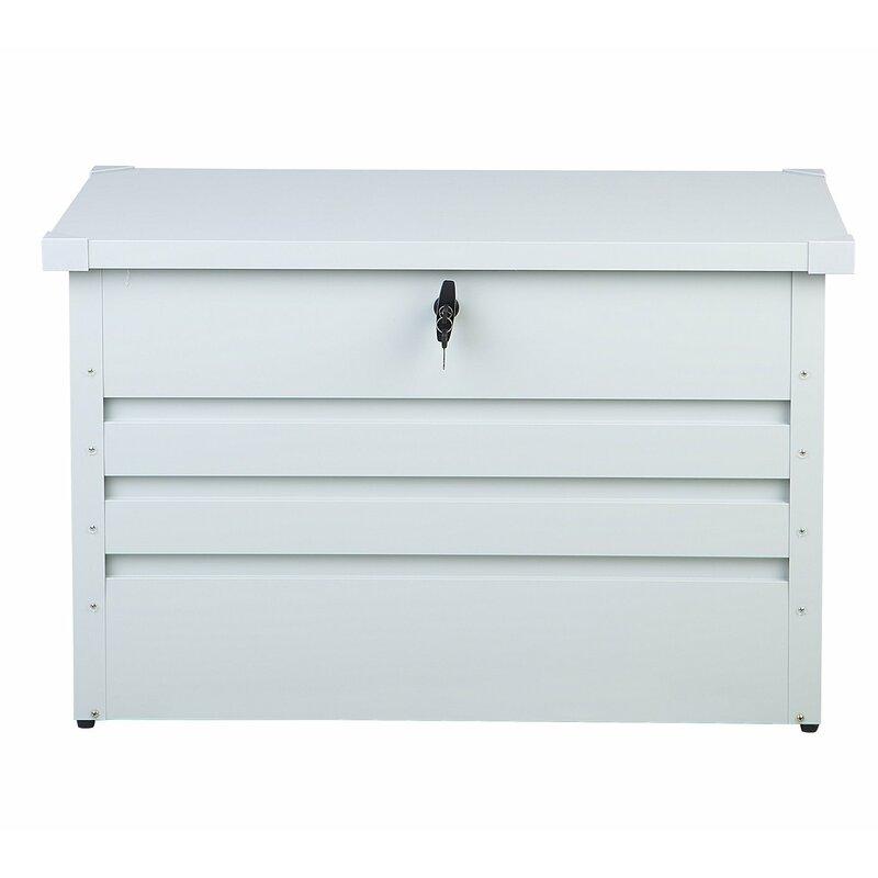 Beliani Cebrosa Outdoor 79 Gallon Metal Deck Box  Color: White