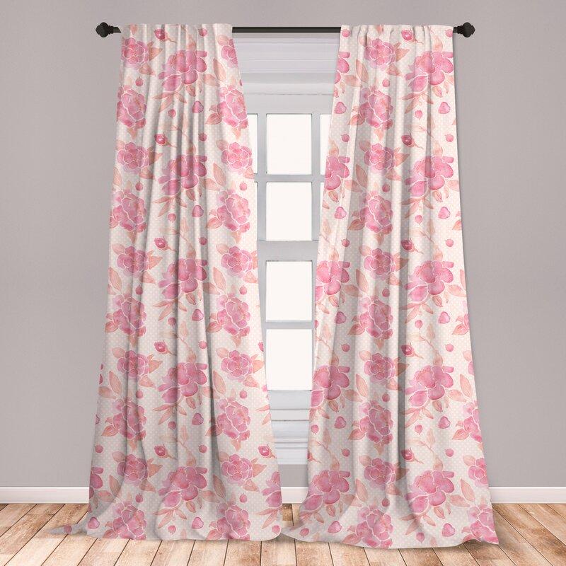 East Urban Home Spring Floral Room Darkening Rod Pocket Curtain Panels Wayfair