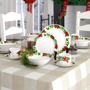 Tarnowski Poinsettia Holiday 20 Piece Dinnerware Set, Service for 4
