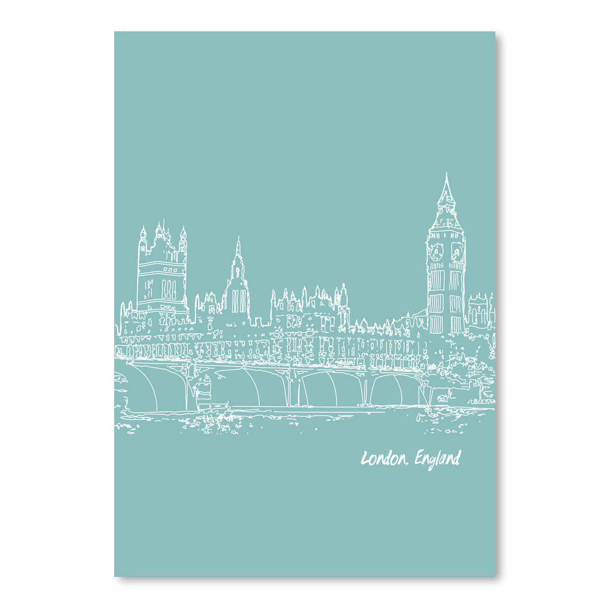 East Urban Home Skyline London 5 Graphic Art In Light Blue Wayfair