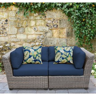 Meeks Patio Sofa with Cushions by Rosecliff Heights
