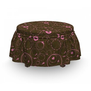 Valentines Day Circles Ottoman Slipcover (Set Of 2) By East Urban Home