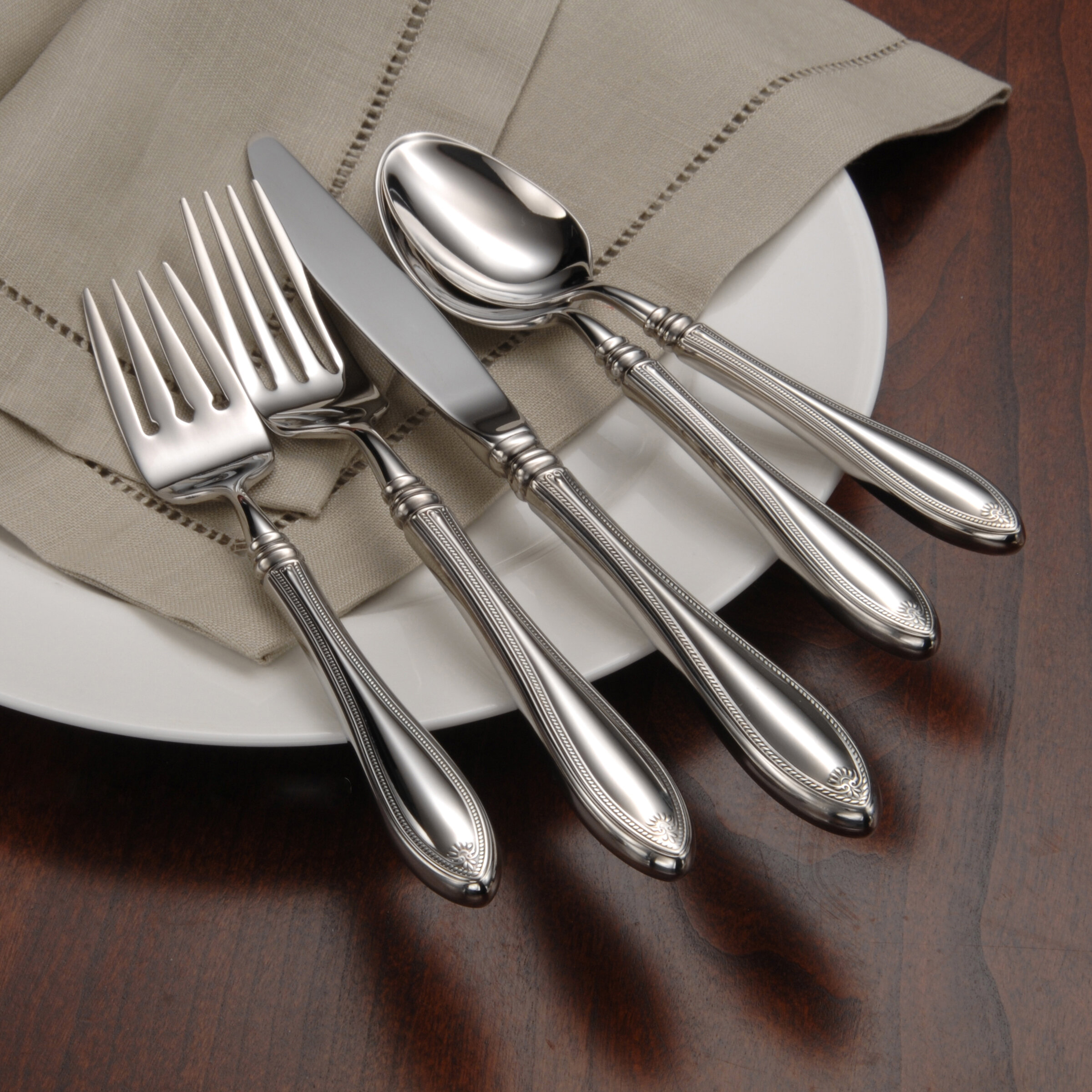 New Oneida Stainless Flatware BOUTONNIERE Set of 5 Serving Pieces
