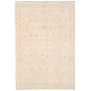 One of a Kind Ferehan Hand Knotted 99 X 139 Wool Beige Area Rug