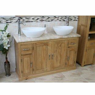 Delk Solid Oak 1230mm Free-Standing Vanity Unit By Belfry Bathroom