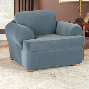 Stretch Pinstripe T-Cushion Armchair Slipcover
