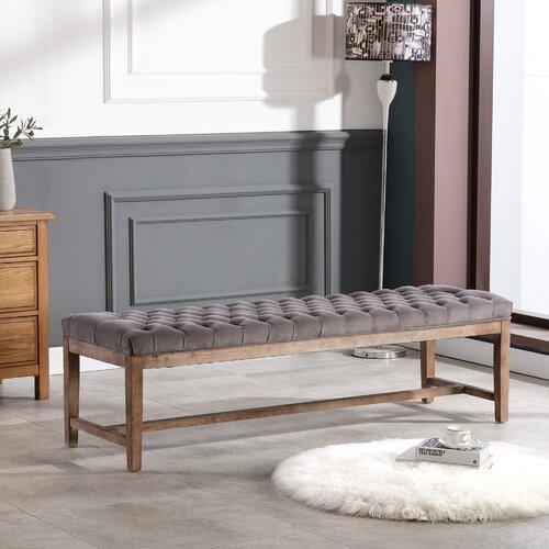 Gepolsterte Sitzbank Rosa Marlow Home Co. Farbe: Viola-Aluminium | Küche und Esszimmer > Sitzbänke | Marlow Home Co.