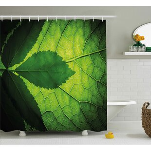 Leaf with Vein Decor Shower Curtain by East Urban Home