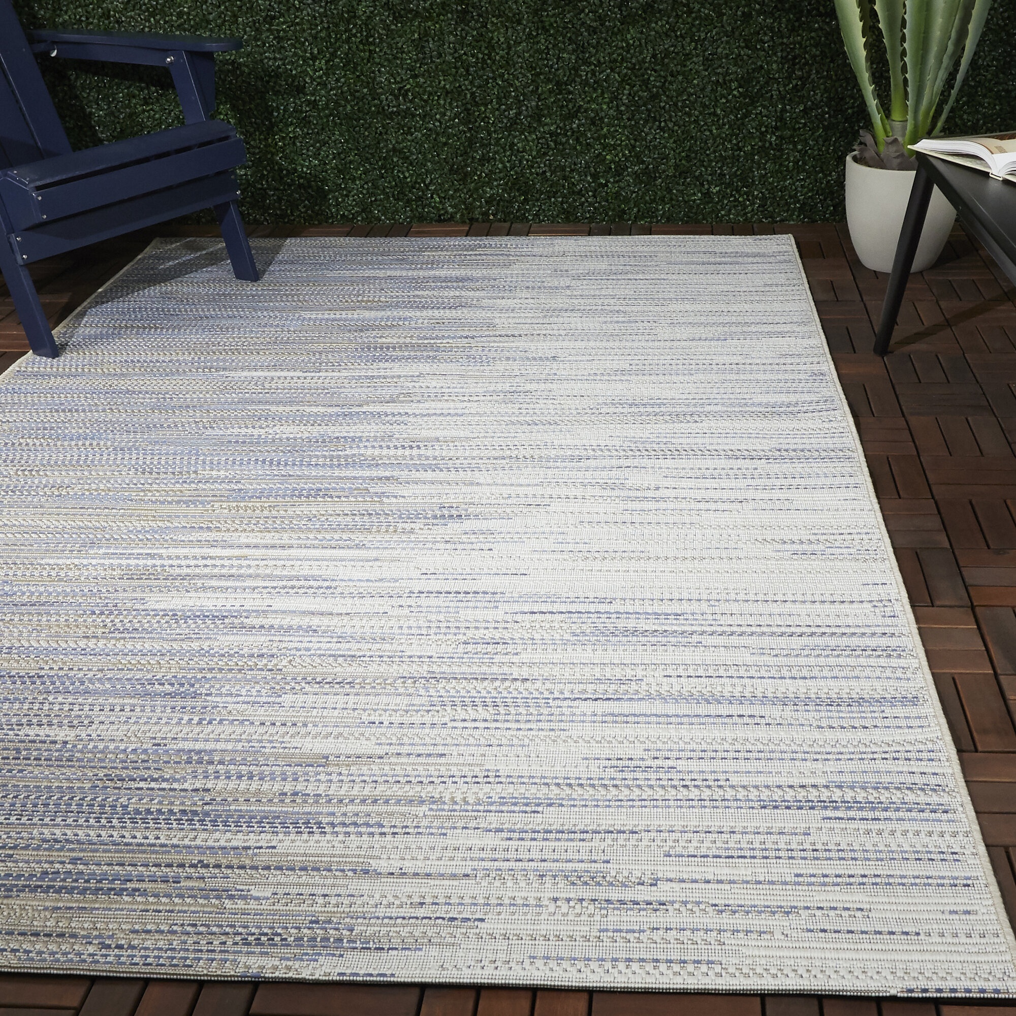 Ebern Designs Rimsdale Power Loom Blue Beige Indoor Outdoor Use Rug Wayfair