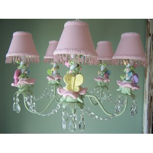 Silly Bear Lighting Pastel Climbing Vine Butterfly 5-Light Shaded Chandelier