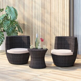 Jupiter 3 Piece Bistro Set with Cushions by Mercury Row