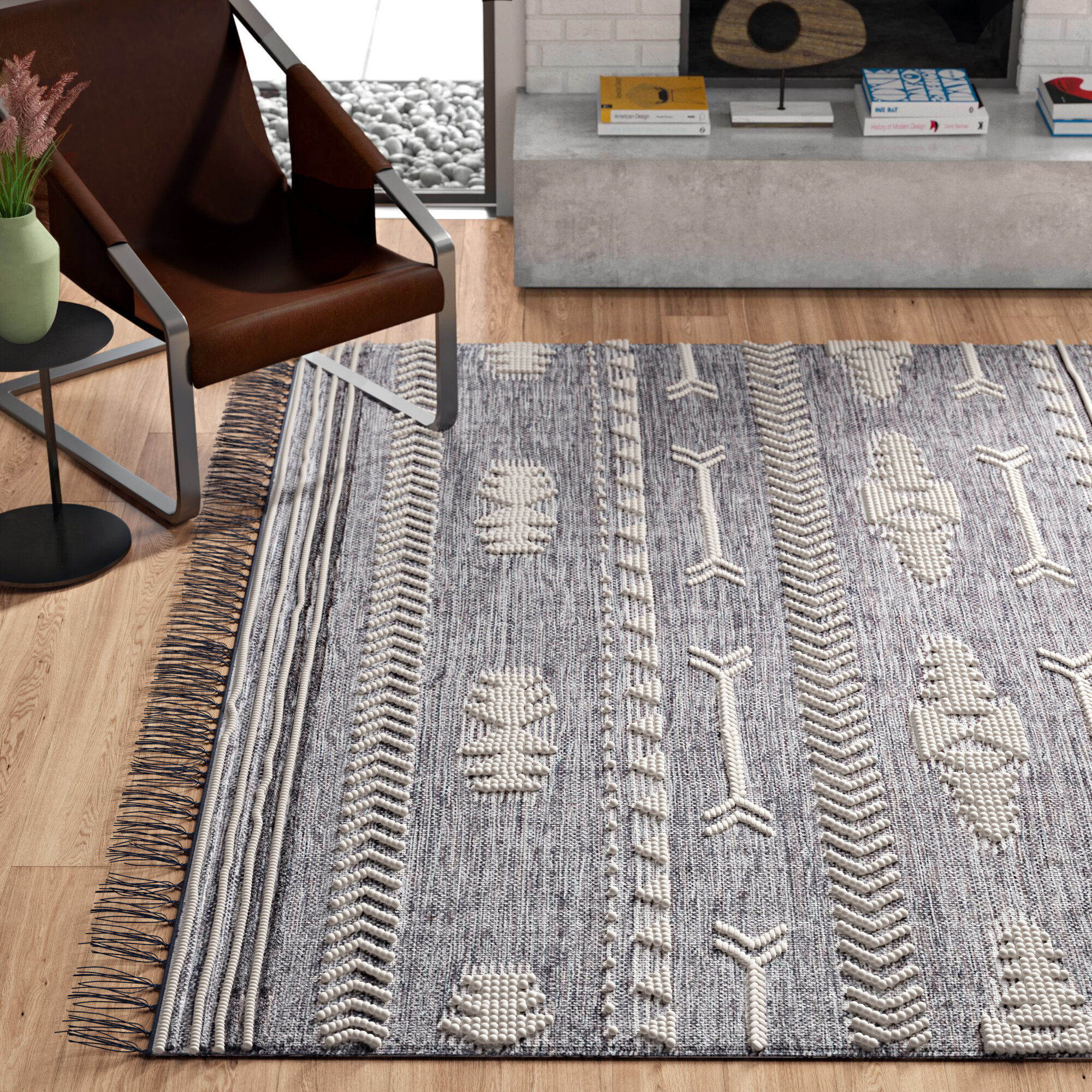 Cypres Abstract Handmade Tufted Brown Tan Area Rug Reviews Allmodern