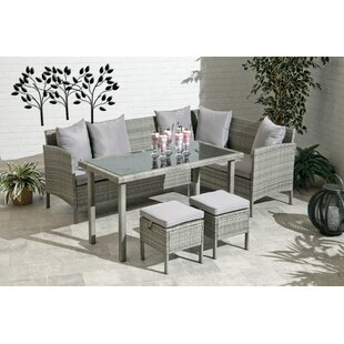Bungalow Rose Petrone 4 Piece Dining Set with Cushions