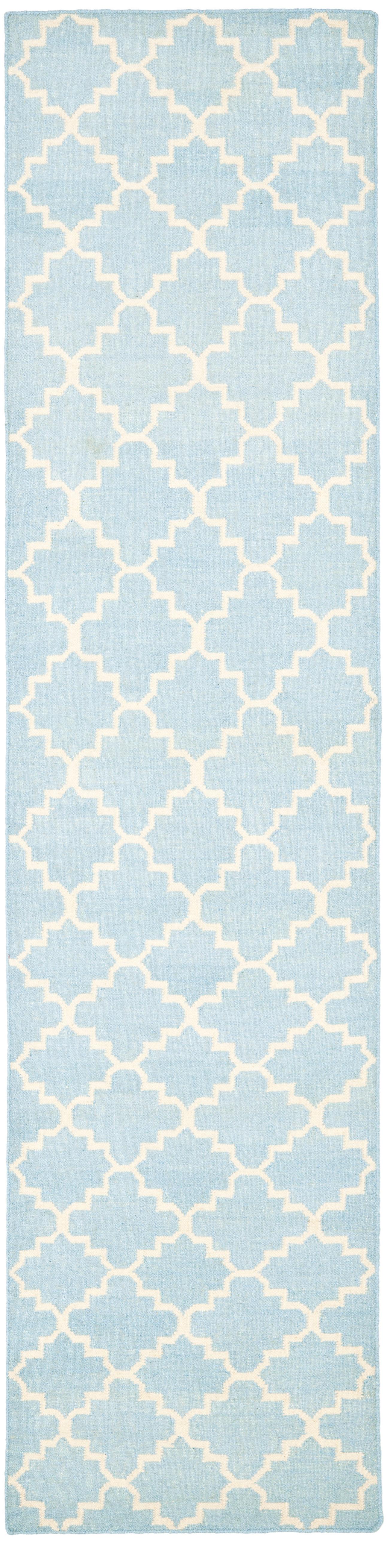 Safavieh Handgewebter Teppich Dhurrie In Hellblau Elfenbein