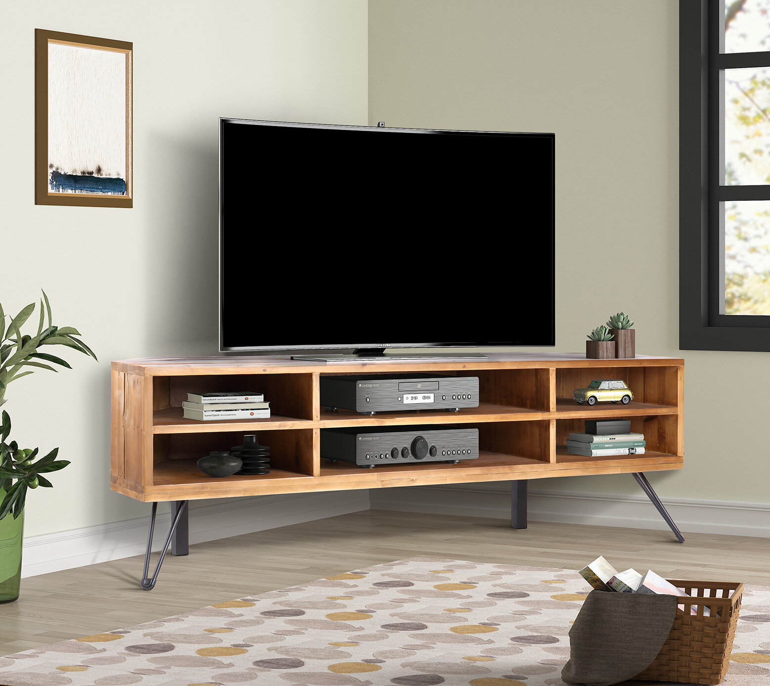 Foundry Select Antonetta Solid Wood Corner Tv Stand For Tvs Up To 52 Reviews Wayfair