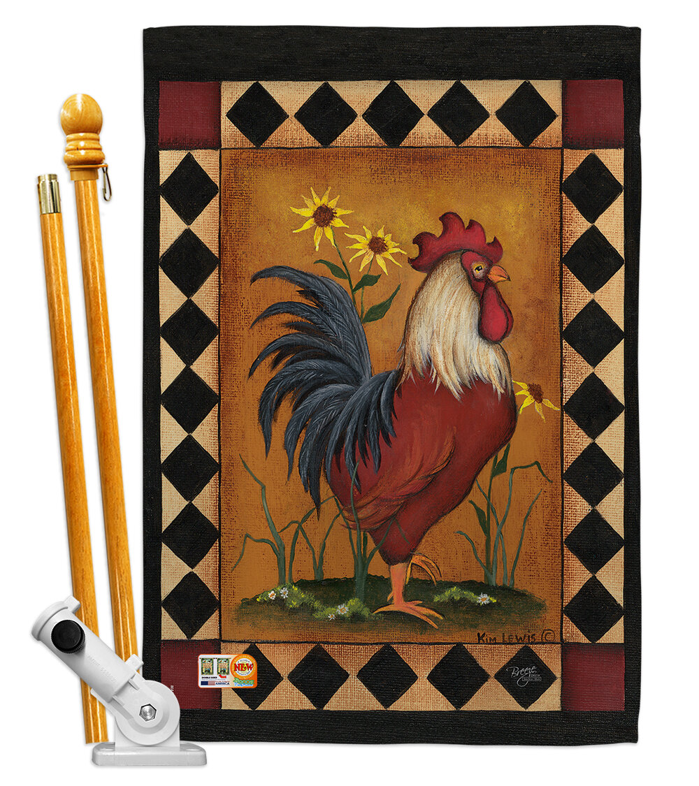 Breeze Decor Rooster 2 Sided Polyester 40 X 28 In Flag Set Wayfair