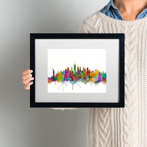 Ivy Bronx \'New York City Skyline\' Framed Graphic Art | Wayfair