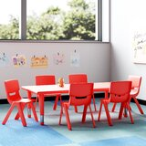 7 Piece Adjustable Height Rectangular Activity Table & Chair Set
