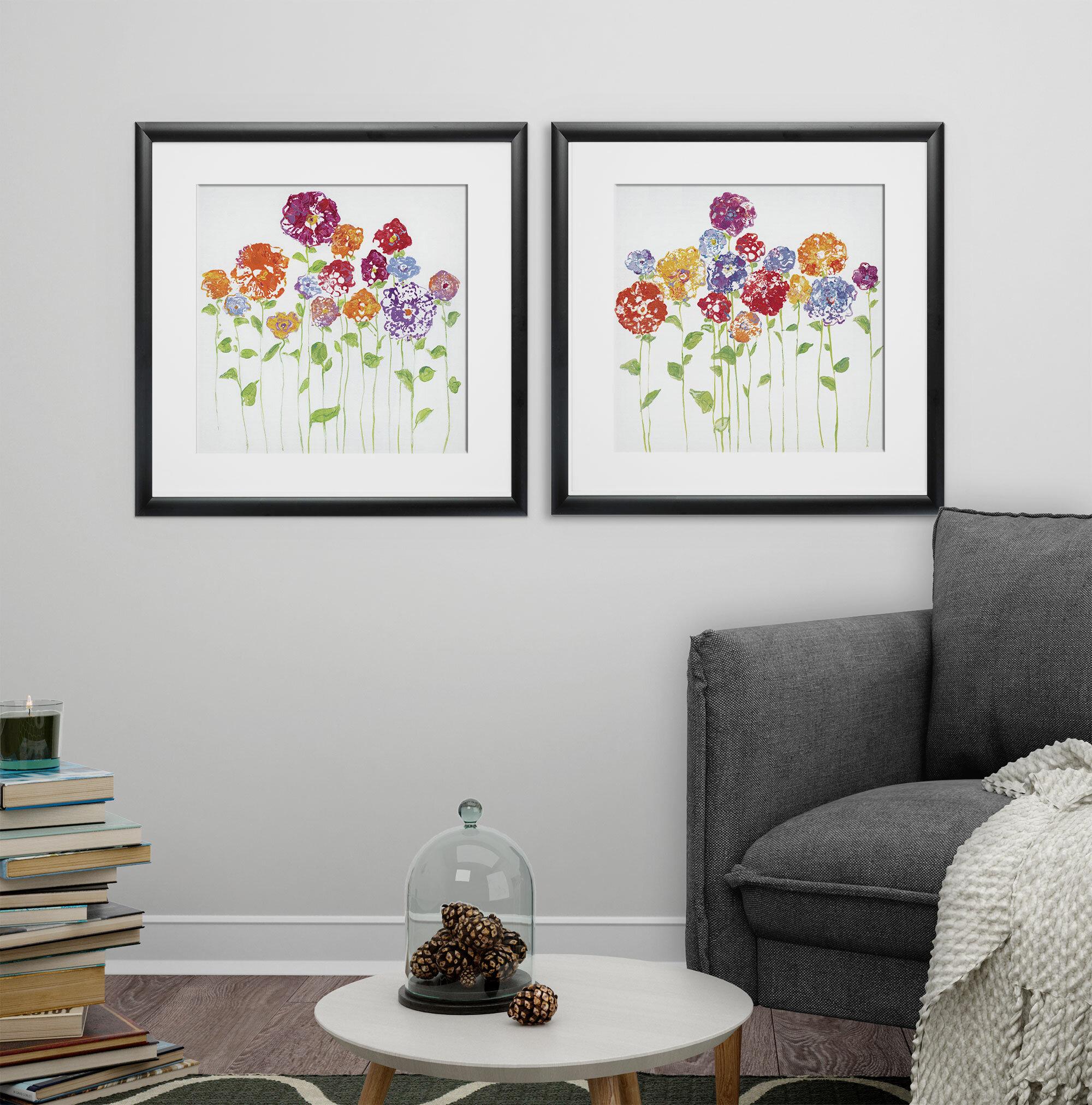 Ebern Designs Pretty Posies 2 Piece Framed Print Set Wayfair