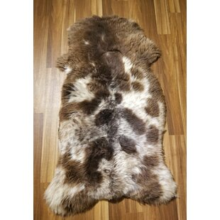 Read Reviews Bollinger Spotted Sheepskin/Wool Brown/White Area Rug By Millwood Pines