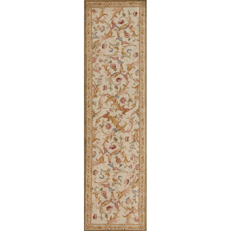 Samad Rugs One Of A Kind Runner Savonnerie Oriental Hand Knotted 3 X 12 Wool Beige Gold Area Rug Perigold