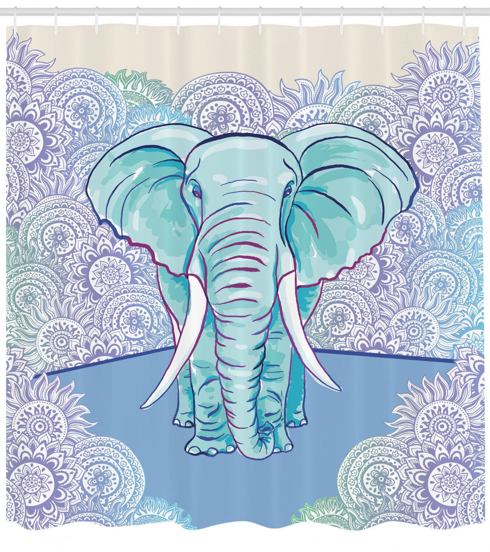 Elephant Shower Curtain Set Hooks
