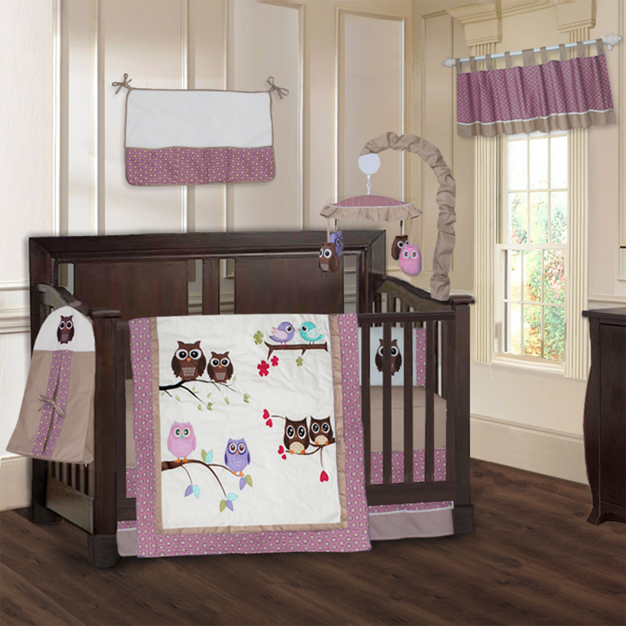 Knupp Owl 9 Piece Crib Bedding Set