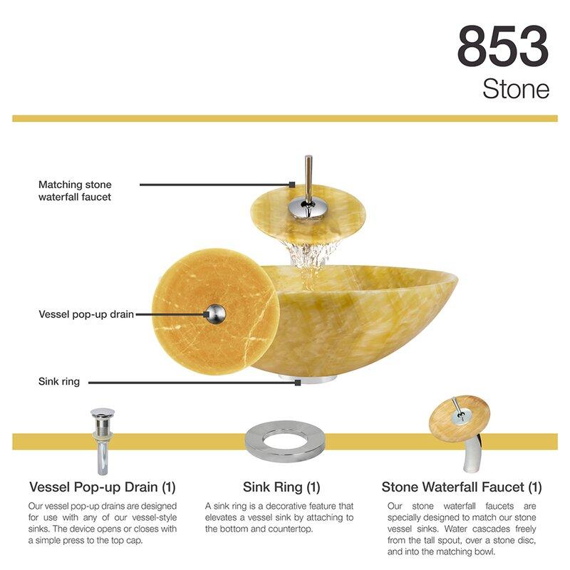 MRDirect Honey Stone Circular Vessel Bathroom Sink with Faucet ...