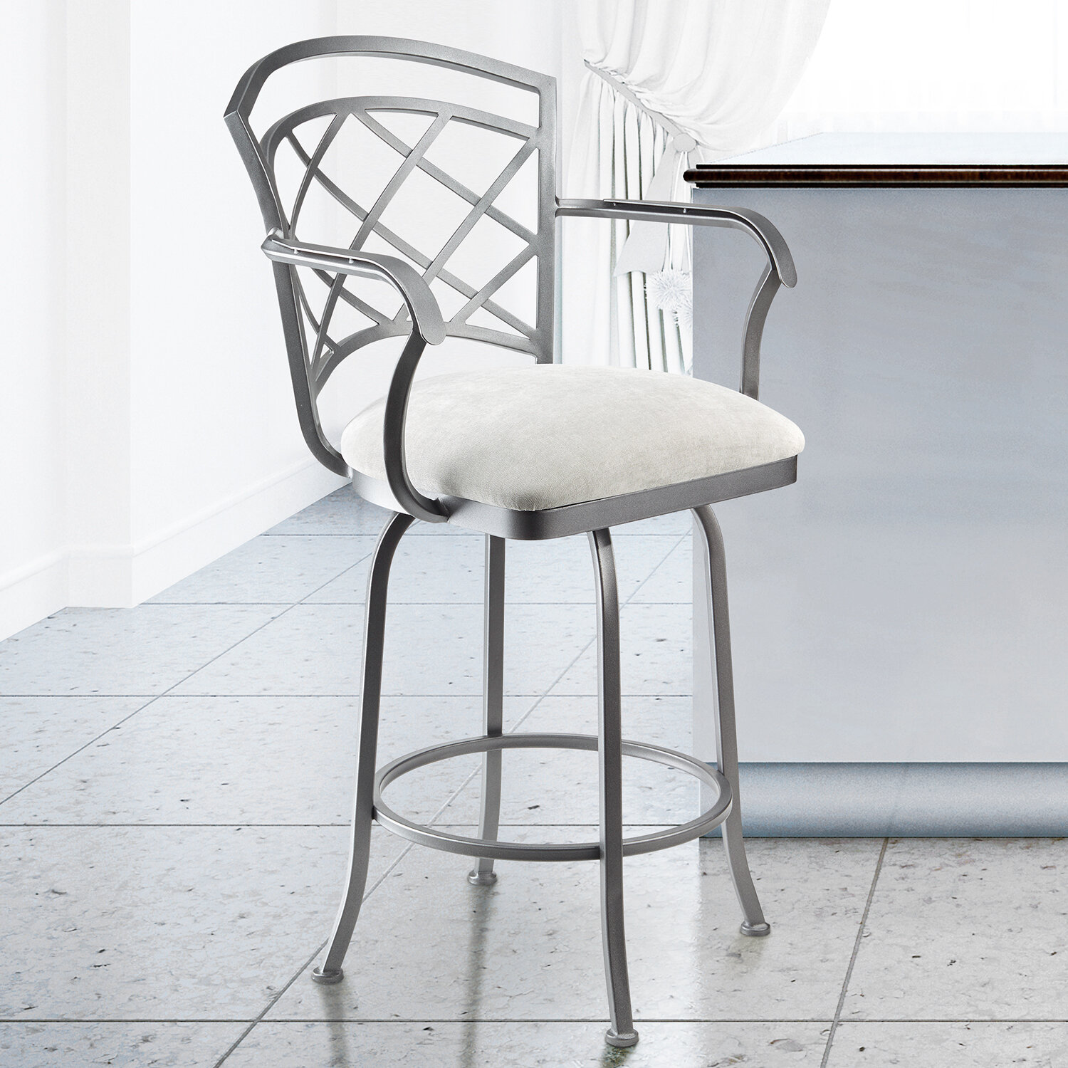 Excellent Taylor Grey Home Athens 26 Counter Height Metal Swivel Barstool In Sonoma Seagrey Fabric And Flint Rock Grey Finish Alphanode Cool Chair Designs And Ideas Alphanodeonline