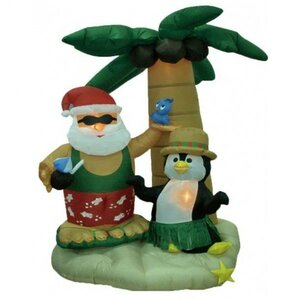 Christmas Inflatable Santa Claus on Vacation Decoration