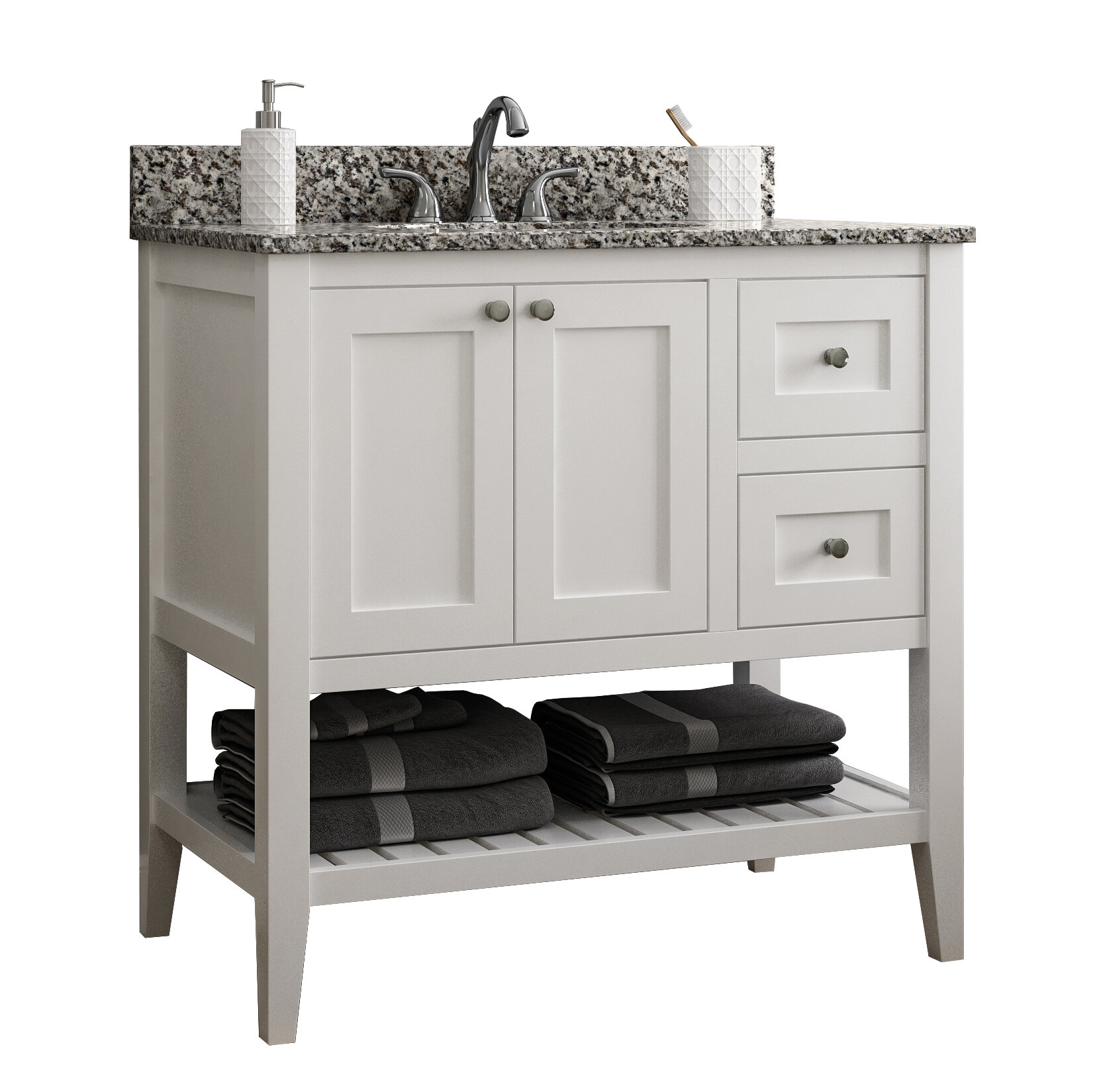 "Vanguard 7"" Right Drawer Single Bathroom Vanity Base Only"