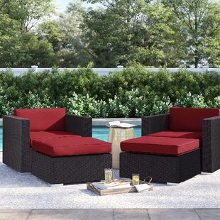 Brentwood 4 Piece Deep Seating Chair and Ottoman with Cushion by Sol 72 Outdoor