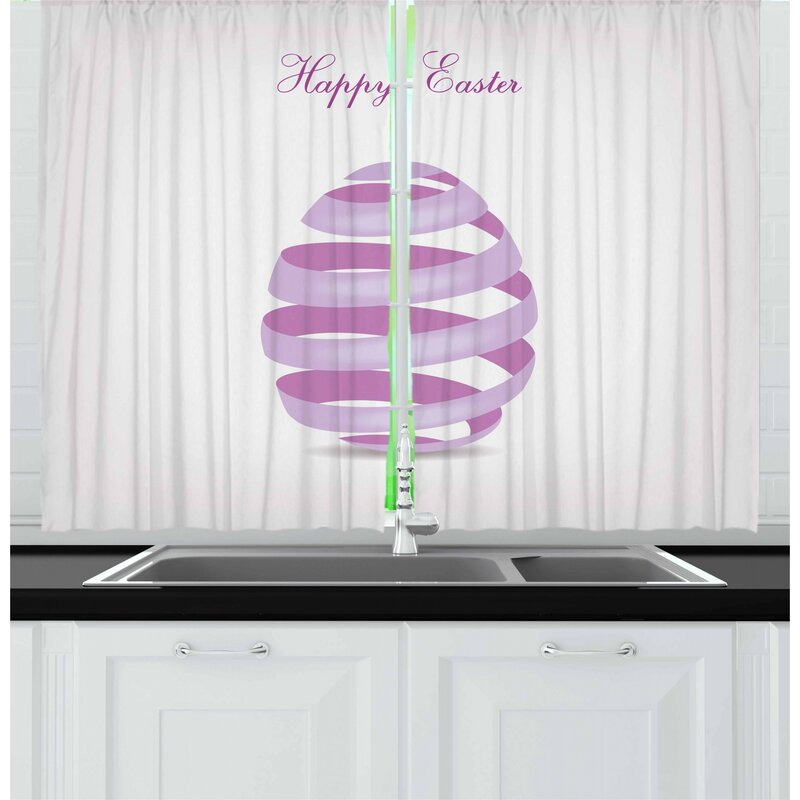 East Urban Home Easter 55 2 Piece Kitchen Curtain Set Wayfair