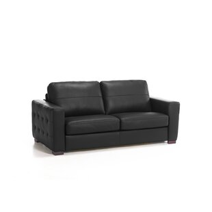 Review Dallas Genuine Leather Fold Out Square Arms Sofa Bed