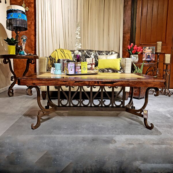 Mexports By Susana Molina Stylized Rectangular Coffee Table Made Of Wrought Iron And Enhanced With An Upscale Top A Mesquite Frame With Cream Travertine Inset 60 X 32 Wayfair