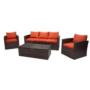 Quebec 4 Piece Sofa Set with Cushions