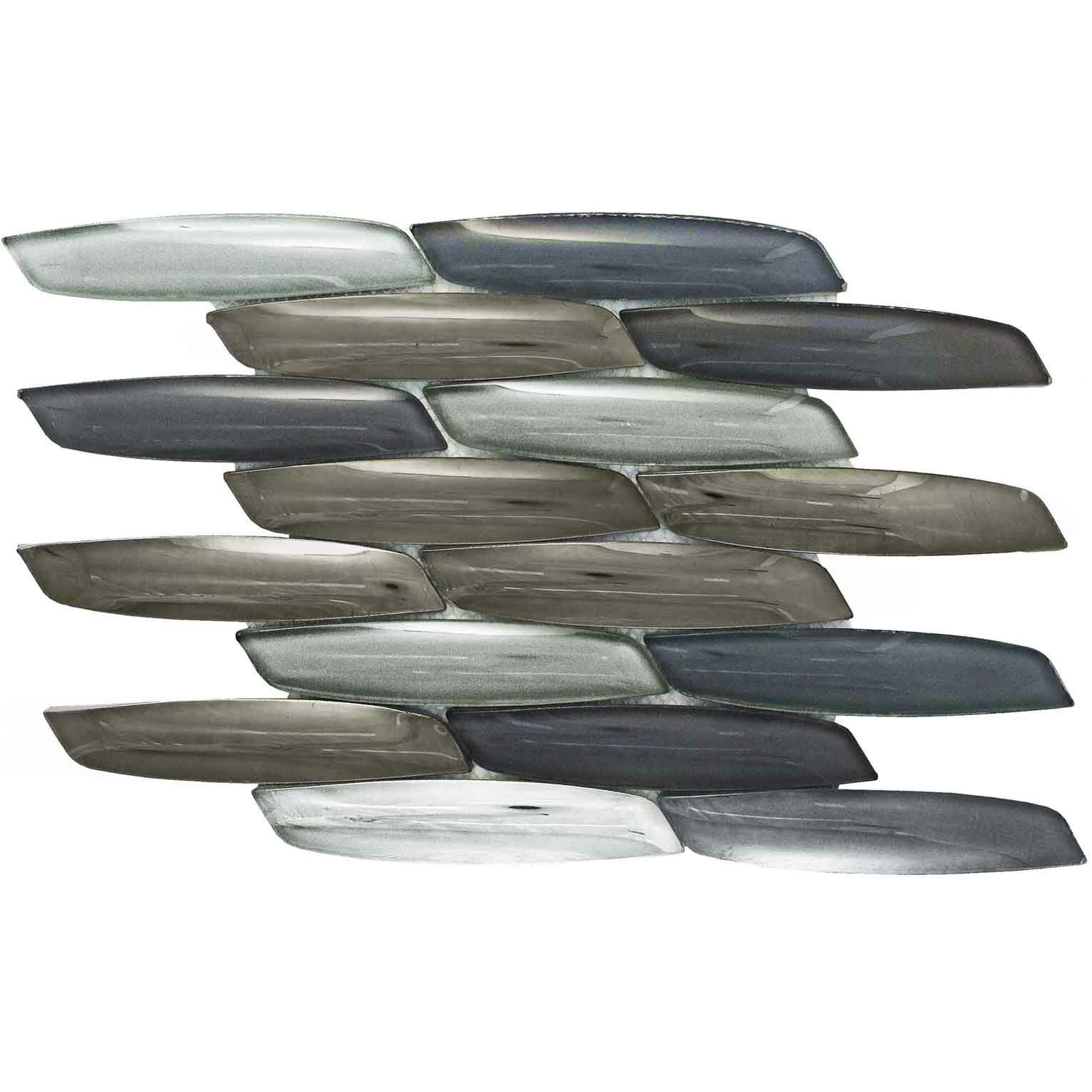 Tile Focus Scales Marlin Random Sized Glass Mosaic Tile In Gray