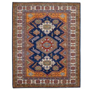 Kazak Hand-Knotted Blue/Gold Area Rug