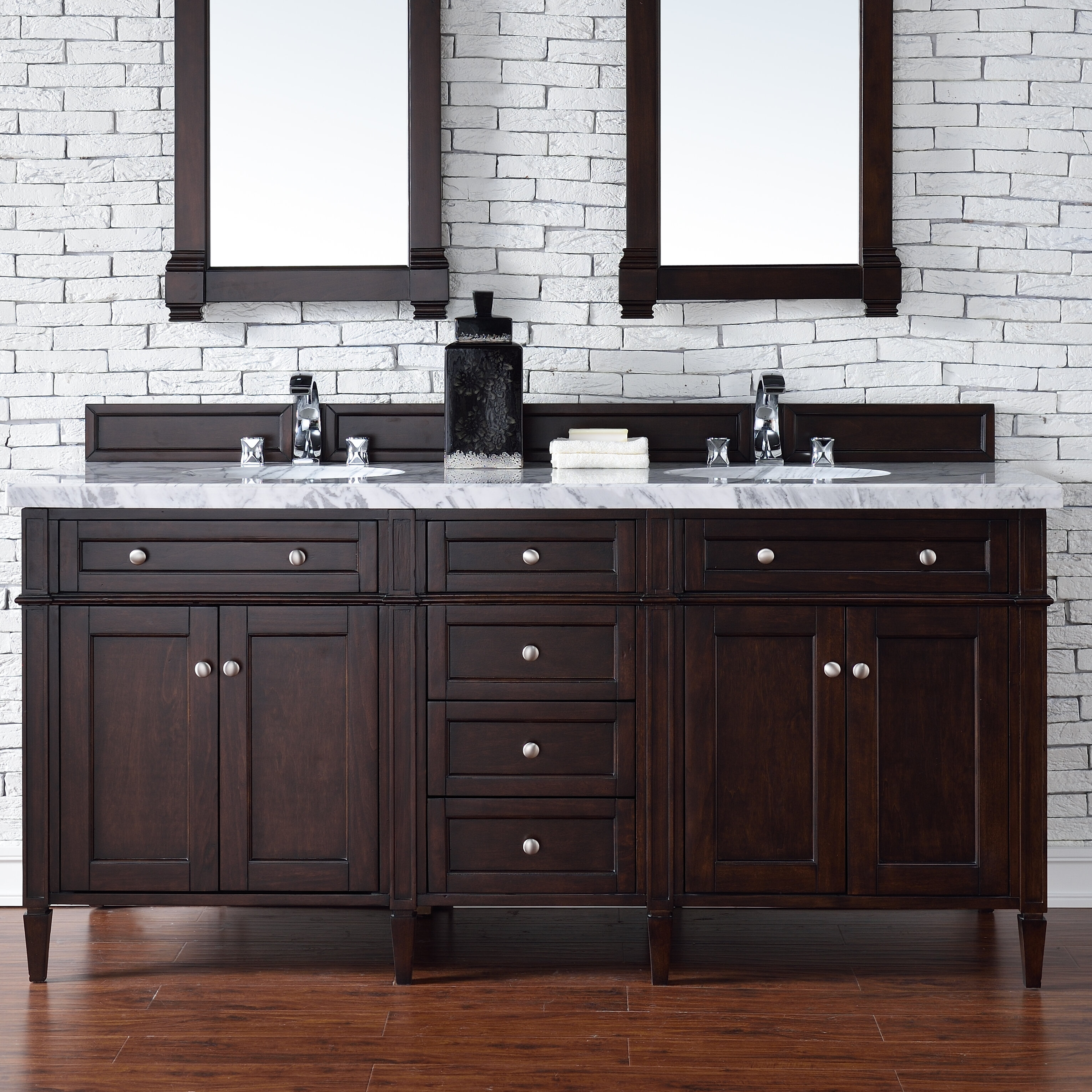 Darby Home Co Deleon 72 Double Burnished Mahogany Free Standing Bathroom Vanity Set Wayfair