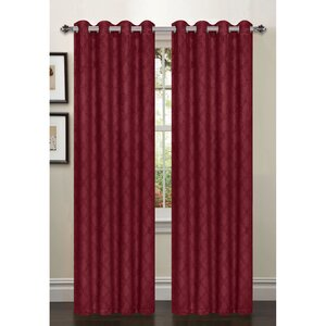 Bryonhall Lattice Geometric Semi-Sheer Thermal Grommet Curtain Panels (Set of 2)