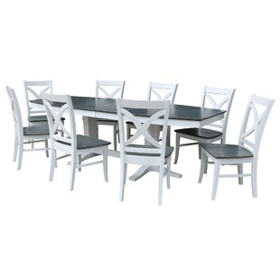 Aarush 9 Piece Extendable Solid Wood Dining Set