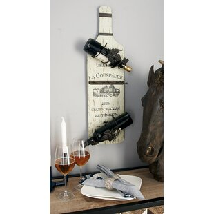 Wood Metal 4 Bottle Tabletop Wine Bottle ..