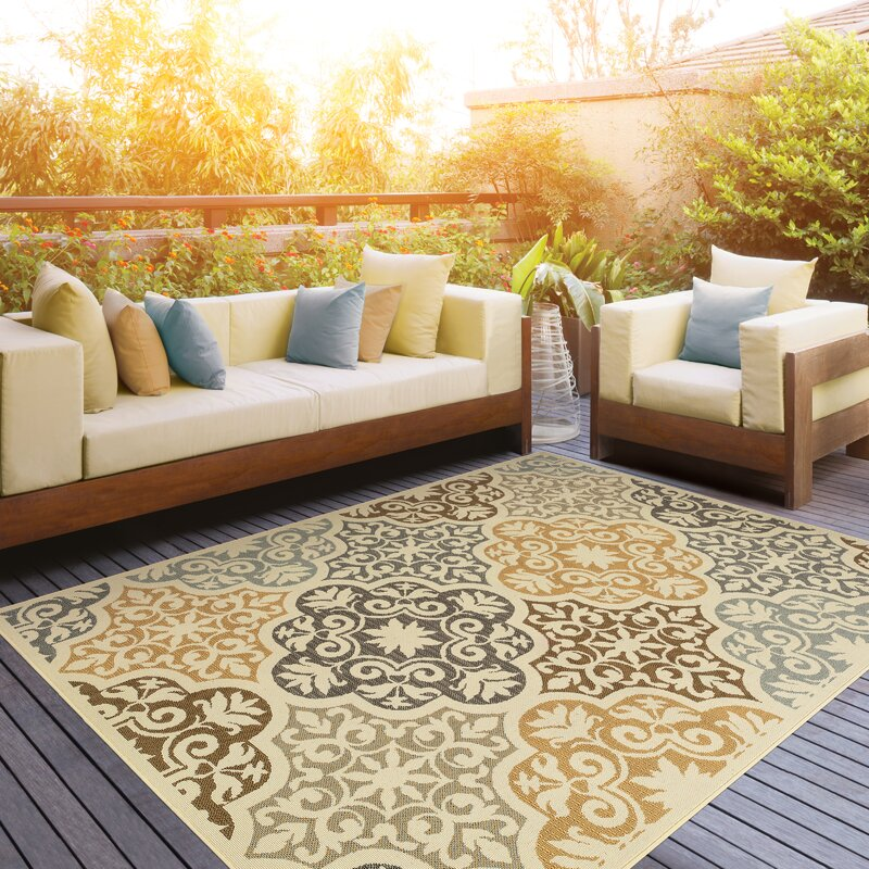 Colton Yellow/Brown Indoor/Outdoor Area Rug & Reviews | AllModern