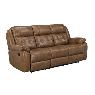 Alves Manual Motion Reclining Sofa, Light Brown