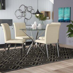 Desborough Circular Glass Dining Set With 4 Chairs By Metro Lane