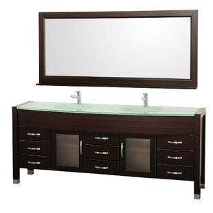 Daytona 78 Double Espresso Bathroom Vanity Set with Mirror