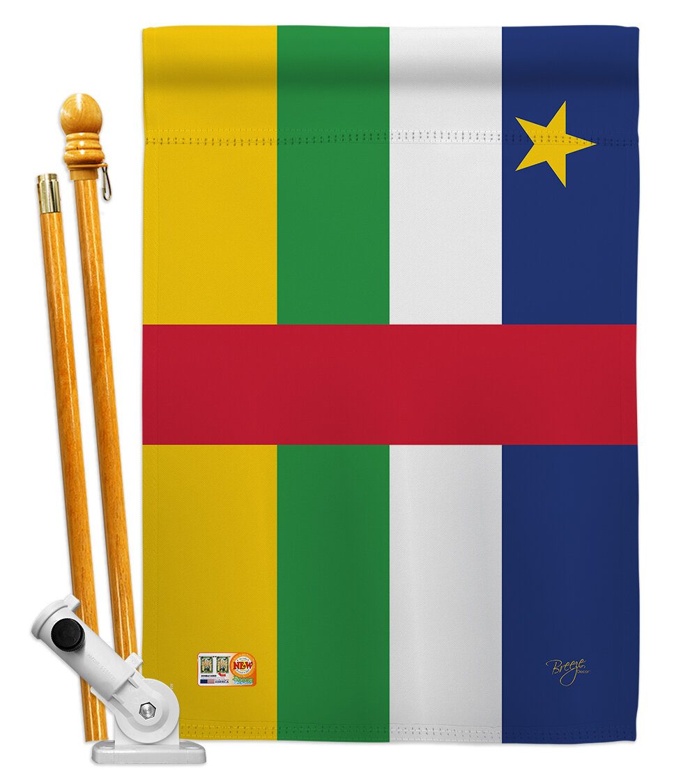 Breeze Decor Central African Republic Flags Of The World Nationality Impressions Decorative Vertical 2 Sided Polyester 28 X 40 In Flag Set Wayfair