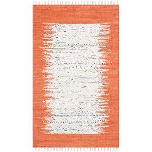 ona handwoven cotton whiteorange area rug