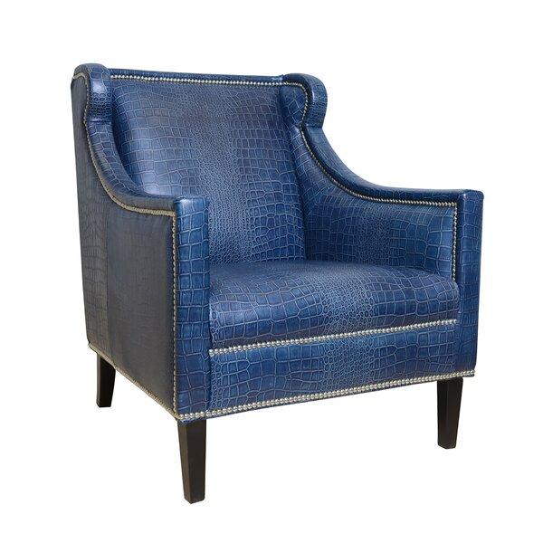 Pasargad Bergdorf Leather Armchair | Wayfair
